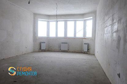 Черновая отделка гостиной в двухкомнатной новостройке 39 кв. м.