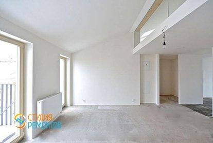 Черновой ремонт двухуровневой студии 42 кв.м., фото-1