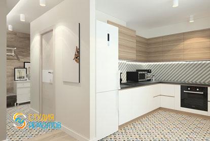 Дизайнерский ремонт кухни в однокомнатной квартире 51,5 кв.м.