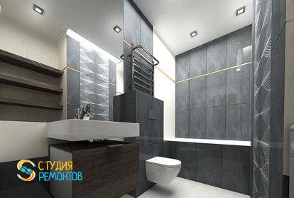 Дизайнерский ремонт санузла в однокомнатной квартире 51,5 кв.м.