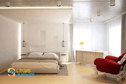 Дизайнерский ремонт спальни в однокомнатной квартире 42,5 кв.м.