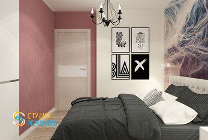 Дизайнерский ремонт спальни в однокомнатной квартире 51,5 кв.м.