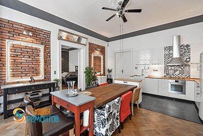 Дизайнерский ремонт кухни в двухкомнатной квартире 67 кв.м.