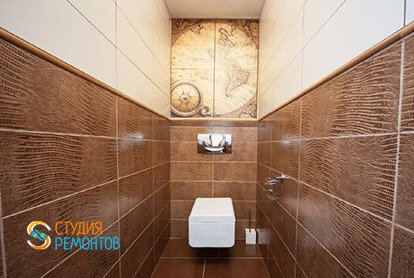 Дизайнерский ремонт туалета в евродвушке 48 кв.м.