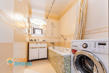 Дизайнерский ремонт ванной в евродвушке 48 кв.м.