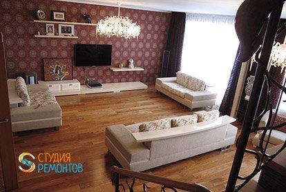 Дизайнерский ремонт гостиной в 3-х комнатной квартире 73 м2