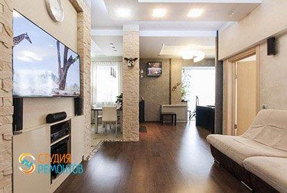 Дизайнерский ремонт гостиной в трехкомнатной квартире 70 кв.м.