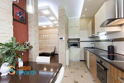 Дизайнерский ремонт кухни в трехкомнатной квартире 70 кв.м.