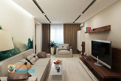 Дизайнерский ремонт гостиной комнаты в четырехкомнатной квартире 89 кв.м.