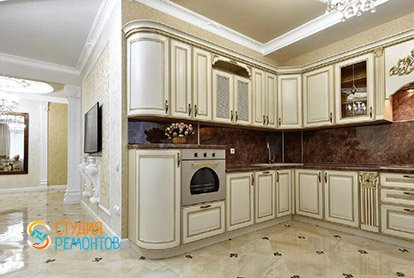 Дизайнерский ремонт кухни-зала в 4-х комнатной квартире 86 кв.м., фото-1