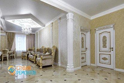 Дизайнерский ремонт кухни-зала в 4-х комнатной квартире 86 кв.м., фото-2