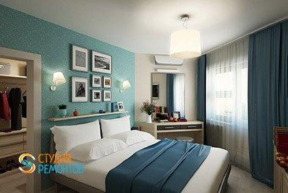 Дизайнерский ремонт спальни в четырехкомнатной квартире 89 кв.м.