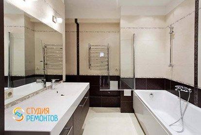 Дизайнерский ремонт ванной в студии 35 кв.м.