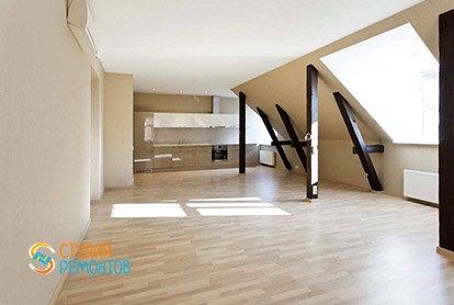 Дизайнерский ремонт зала в студии 35 кв.м.