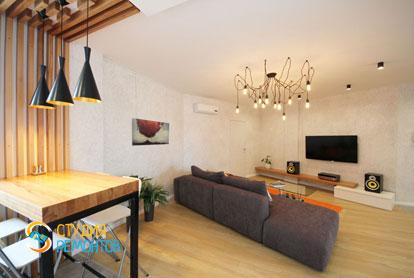 Евроремонт зала-гостиной в двухкомнатной квартире 61 кв.м.