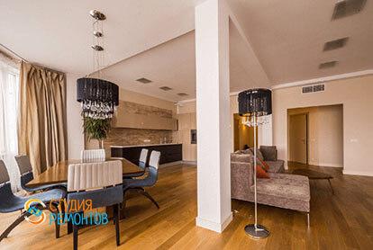 Евроремонт кухни с залом в 3-х комнатной квартире 62 м2