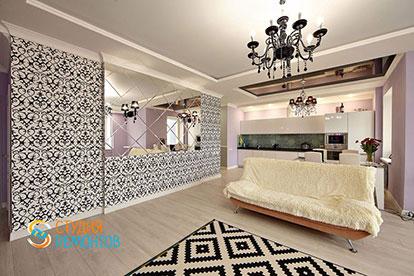Евроремонт комнаты-студии в однокомнатной квартире 39 кв. м.