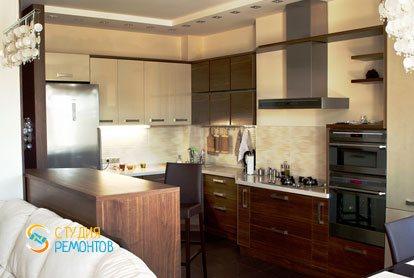 Евроремонт кухни в однокомнатной квартире 42 м2