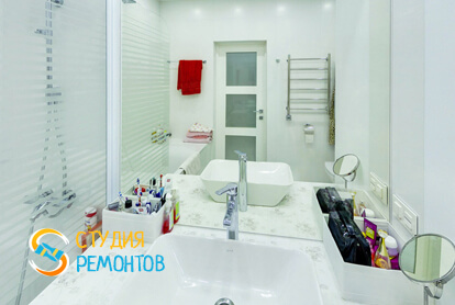 Евроремонт ванной в двухкомнатной квартире 47 кв.м.