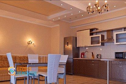 Евроремонт кухни-зала в 5-комнатной квартире 103 кв.м.
