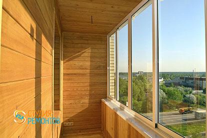 Отделка балкона вагонкой 4 кв.м.