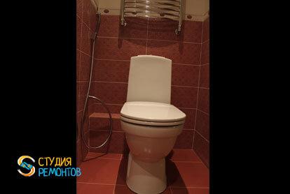 Отделка туалета плиткой 1,6 кв.м.