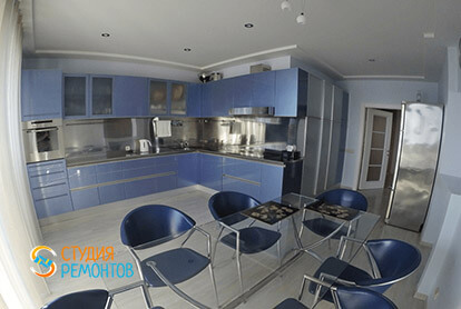 Пример евроремонта кухни в трехкомнатной квартире 75 кв.м.