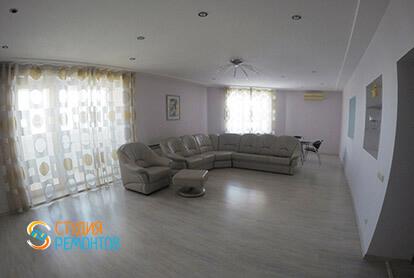 Пример евроремонта зала в трехкомнатной квартире 75 кв.м.