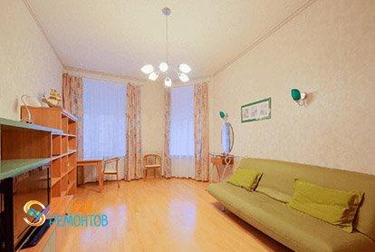 Пример ремонта гостиной в четырехкомнатной квартире 93 м2