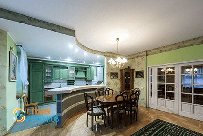 Пример ремонта кухни с залом в 5-комнатной квартире 110 кв.м., фото-1