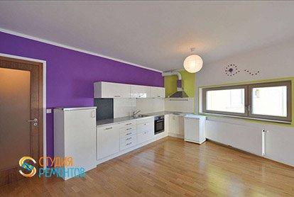 Пример евроремонта зала с кухней в квартире студии 35 м2, фото-1