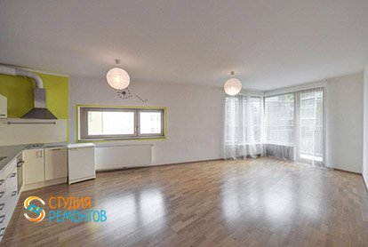 Пример евроремонта зала с кухней в квартире студии 35 м2, фото-2