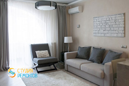 Евроремонт гостиной и кухни в 4-х комнатной квартире 72,5 кв.м. фото-1
