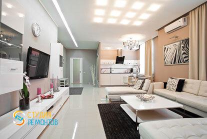 Евроремонт кухни-гостиной в 4-х комнатной квартире 82 кв.м. фото-1