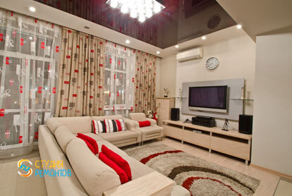 Евроремонт кухни-гостиной в 4-х комнатной квартире 87 кв.м. фото-1
