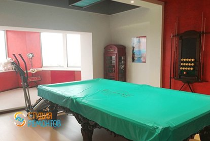 Евроремонт бильярдной в 5 комнатной в новостройке 106 кв.м.