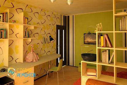 Евроремонт детской комнаты для девочки 11 кв.м. фото-2