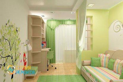 Евроремонт детской комнаты для девочки 12 м2