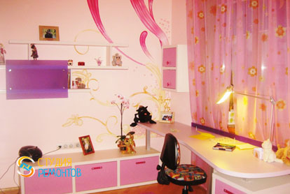 Косметический ремонт детской комнаты для девочки 9 кв.м.