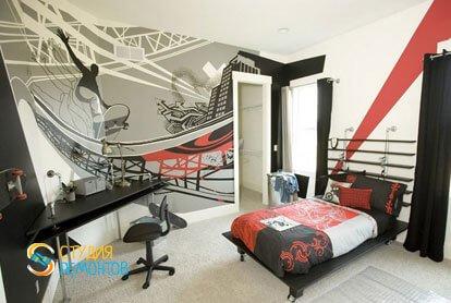 Евроремонт детской комнаты для мальчика 11 м2