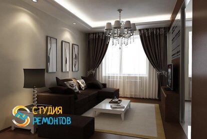Евроремонт гостиной комнаты 18 м2