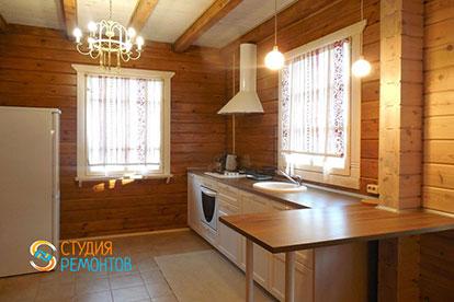 Капитальный ремонт кухонной зоны в коттедже из бруса 40,5 квадратов