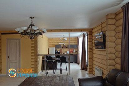 Капремонт гостиной объединенной с кухней в деревянном коттедже 45,5 м2