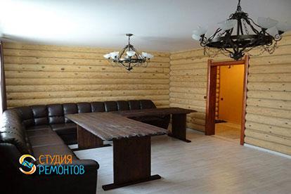 Капремонт гостиной зоны в деревянном коттедже 45,5 м2