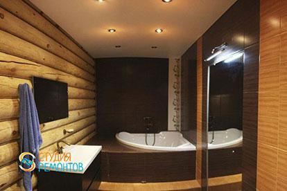 Капремонт ванной комнаты в деревянном коттедже 45,5 м2