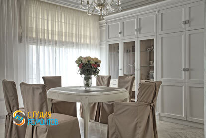 Ремонт кухни-столовой в 1-к квартире 50 кв.м. в классическом стиле фото-1