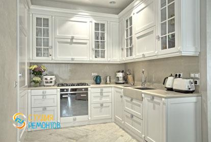 Ремонт кухни-столовой в 1-к квартире 50 кв.м. в классическом стиле фото-2