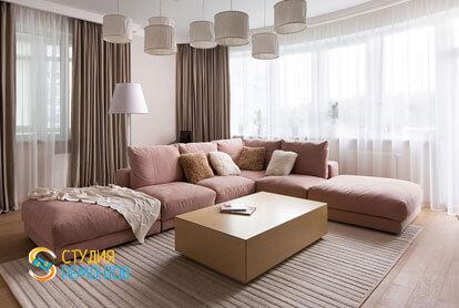 Ремонт гостиной в двухкомнатной квартире 59,5 кв.м. в современном стиле