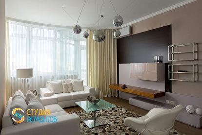 Ремонт гостиной в трехкомнатной квартире 56,5 кв.м. в современном стиле фото-1