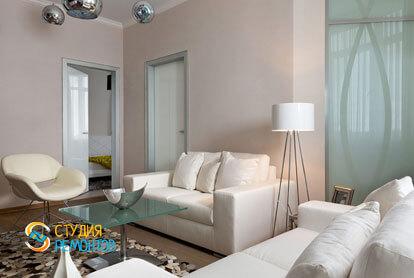 Ремонт гостиной в трехкомнатной квартире 56,5 кв.м. в современном стиле фото-2